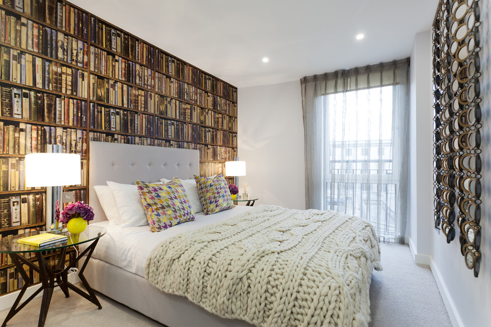 100 Wool Blanket Bedroom Eclectic with Accent Wall Bed Pillows Bedside Table Book Wallpaper Curtains Drapes Houndstooth Pillows