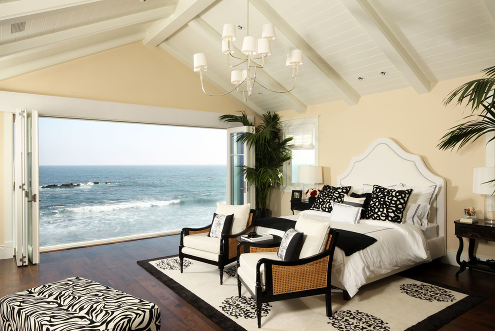 1200 Thread Count Sheets Bedroom Traditional with Beach Beach Access Black and White Master Bedroom Ocean View