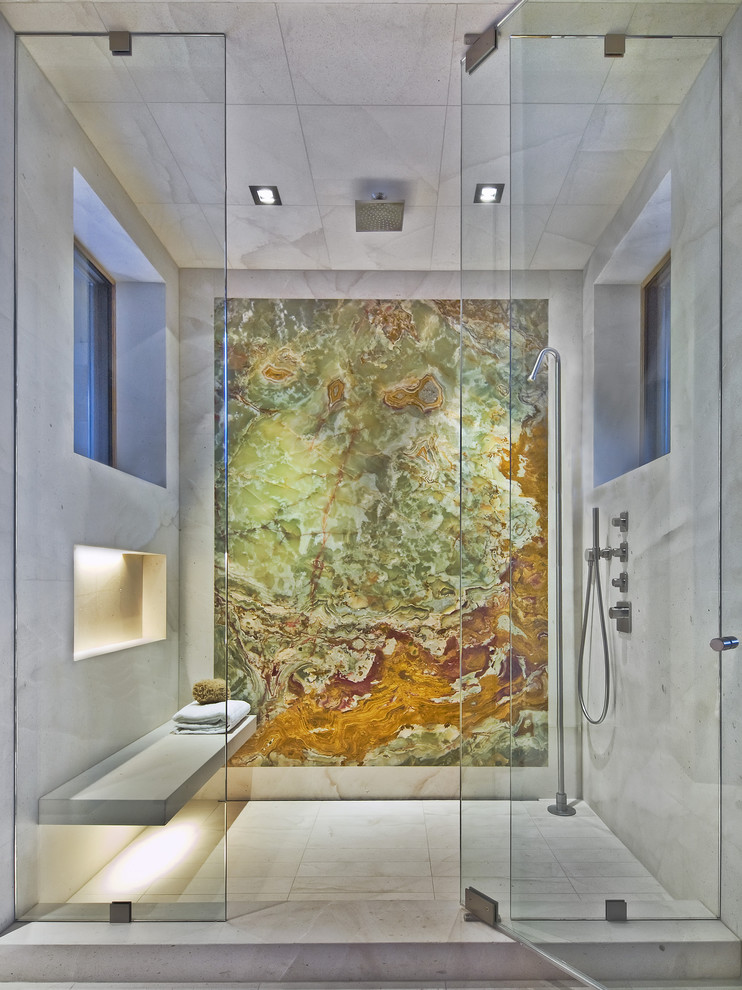 1500 Thread Count Sheets Bathroom Contemporary with Alcove Glass Panel Marble Slab Pivot Door Rain Shower Recessed Lights Shower