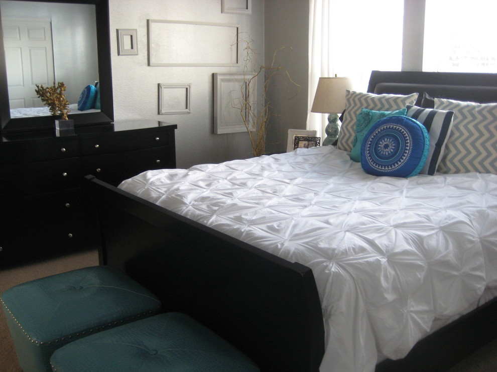 1500 Thread Count Sheets Bedroom Transitional with Chest of Drawers Decorative Pillows Dresser Foot of the Bed Frames Gallery
