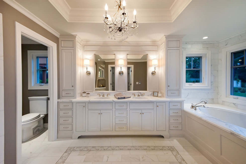 16x20 Frame Bathroom Traditional with Bath Chandelier Crystal Chandelier Custom Cabinet Marble Marble Floor Marble Tile Nook
