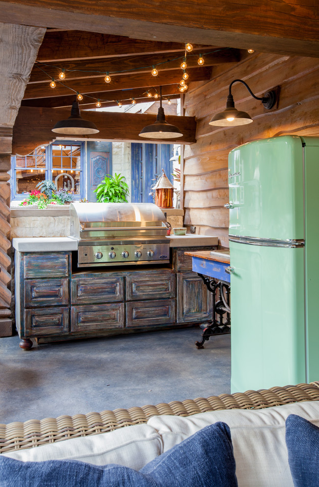 18 Cu Ft Refrigerator Patio Rustic with Barn Lights Big Chill Built in Grill Cabana Eclectic Green Refrigerator Hanging