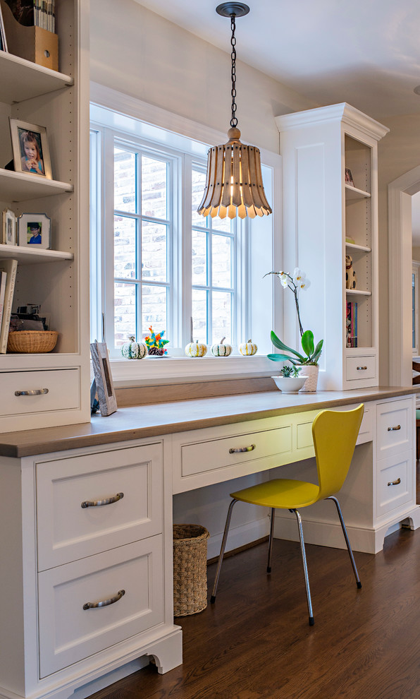 2 Drawer Filing Cabinet Home Office Traditional with Countertop Cabinets Open Shelves Trash Can White Cabinets Wood Pendant Light Yellow1