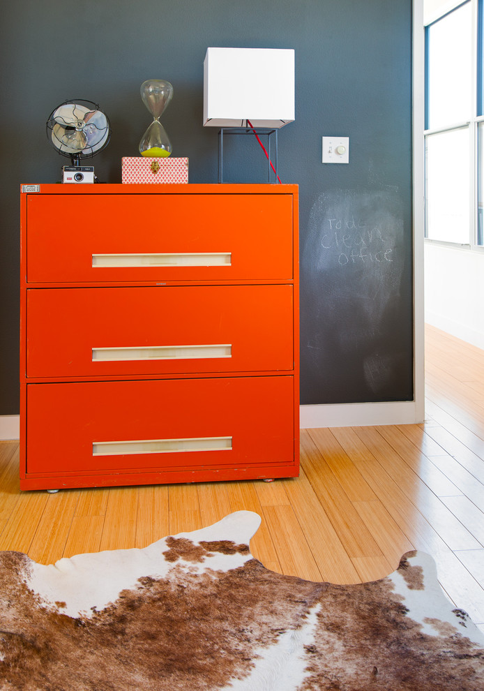 2 Drawer Wood File Cabinet Home Office Eclectic with Chalk Paint Wall Cow Hide Hour Glass Orange File Cabinet Table Lamp