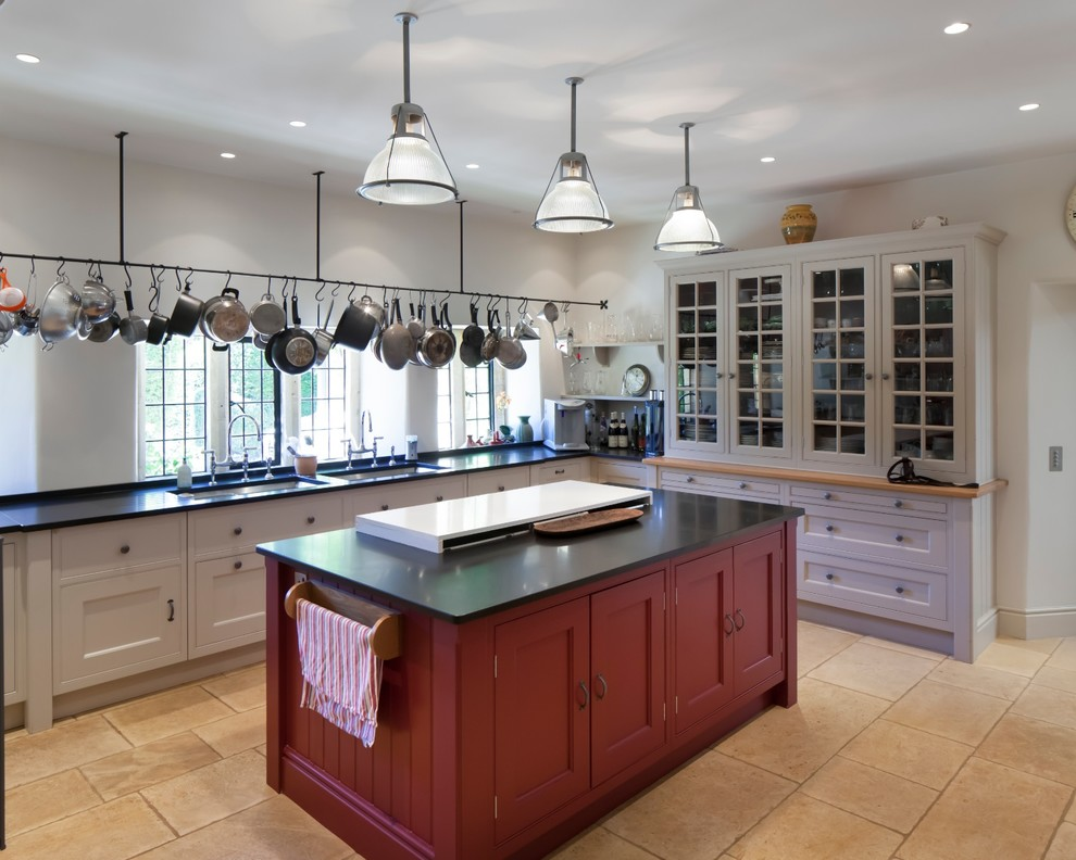2 quart saucepan Kitchen Traditional with glass fronted cabinet hanging rail hanging saucepans Industrial Style Lighting island lighting