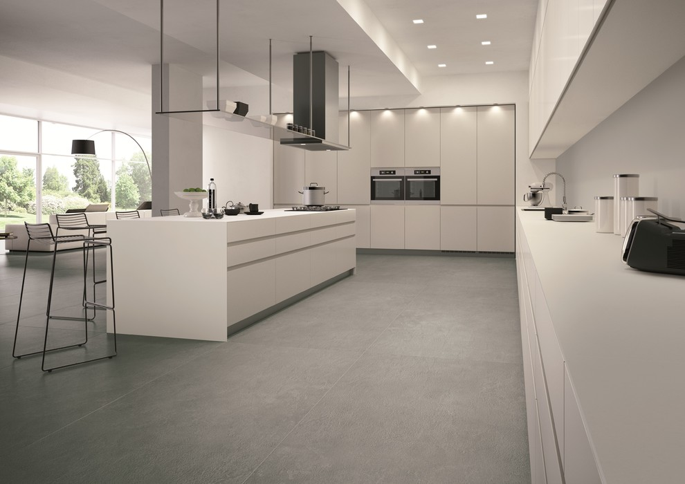 3 Quart Saucepan Kitchen Contemporary with Concrete Look Floor Tile Porcelain Tile Rectified Tile Slab Wall Tile