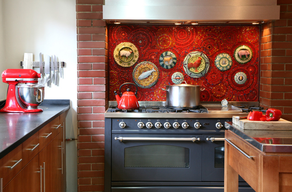 3 quart saucepan Kitchen Eclectic with blue stove cooker kitchen mosaic mosaic tile red backsplash