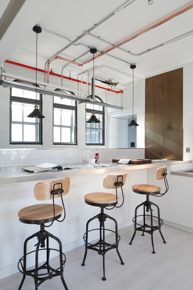 34 Inch Bar Stools Kitchen Industrial with Bar Black Framed Windows Breakfast Bar Concrete Copper Pipe Copper Pipes Exposed