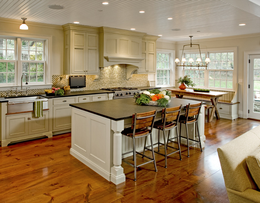 34 Inch Bar Stools Kitchen Traditional with Apron Sink Banquette Beadboard Ceiling Breakfast Bar Breakfast Nook Ceiling Lighting Country