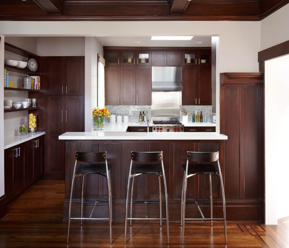 36 inch bar stools Kitchen Contemporary with bar stool brown cabinet cabinet hardware coffered ceiling dark wood dark wood