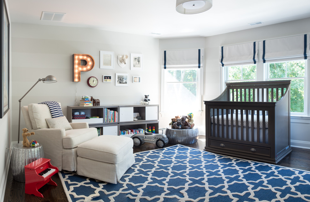 4 in 1 Convertible Crib Nursery Traditional with Blue and White Roman Shades Blue and White Rug Roman Shades For
