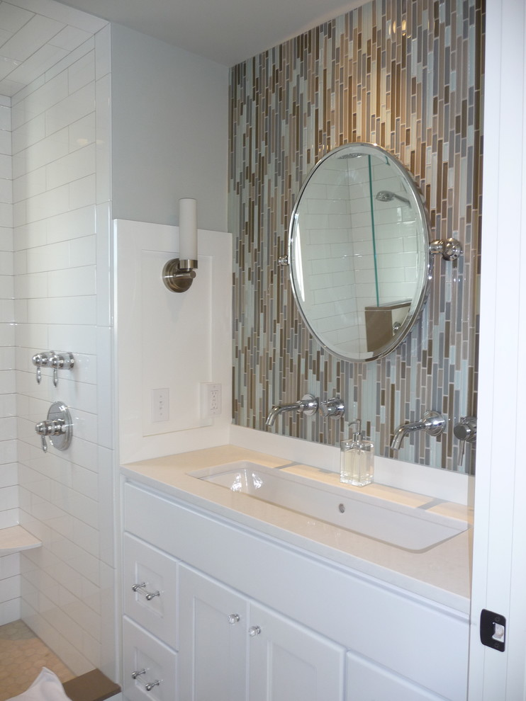 48 double sink vanity Bathroom Contemporary with circular mirror faucet Glass Tile Glass Tile Mosaic Grohe quartz Restoration Hardware