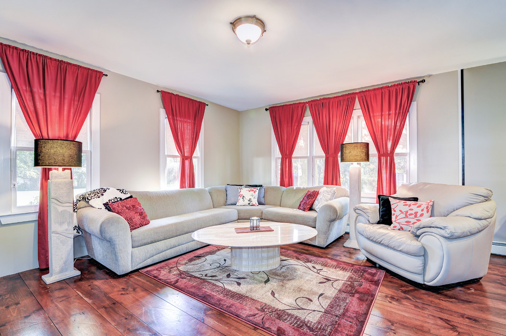 5x7 Area Rugs Living Room Transitional with Bright Red Single Tie Curtains Cream and Black Throw Marble Oval Tan