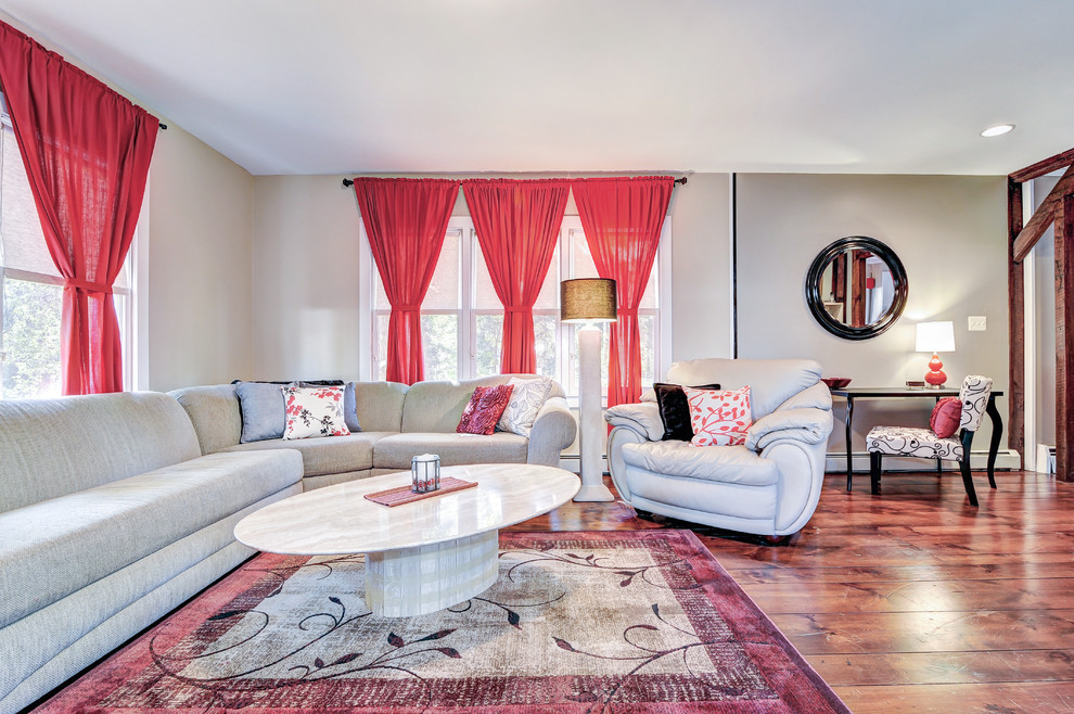 5x7 Area Rugs Living Room Transitional with Bright Red Single Tie Curtains Cream and Black Throw Marble Oval Tan2