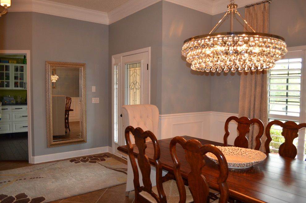 5x7 Rug Dining Room Transitional with 5x7 Rug Blue Walls Ceramic Bowl Chandelier Crown Molding Custom Made Drapery