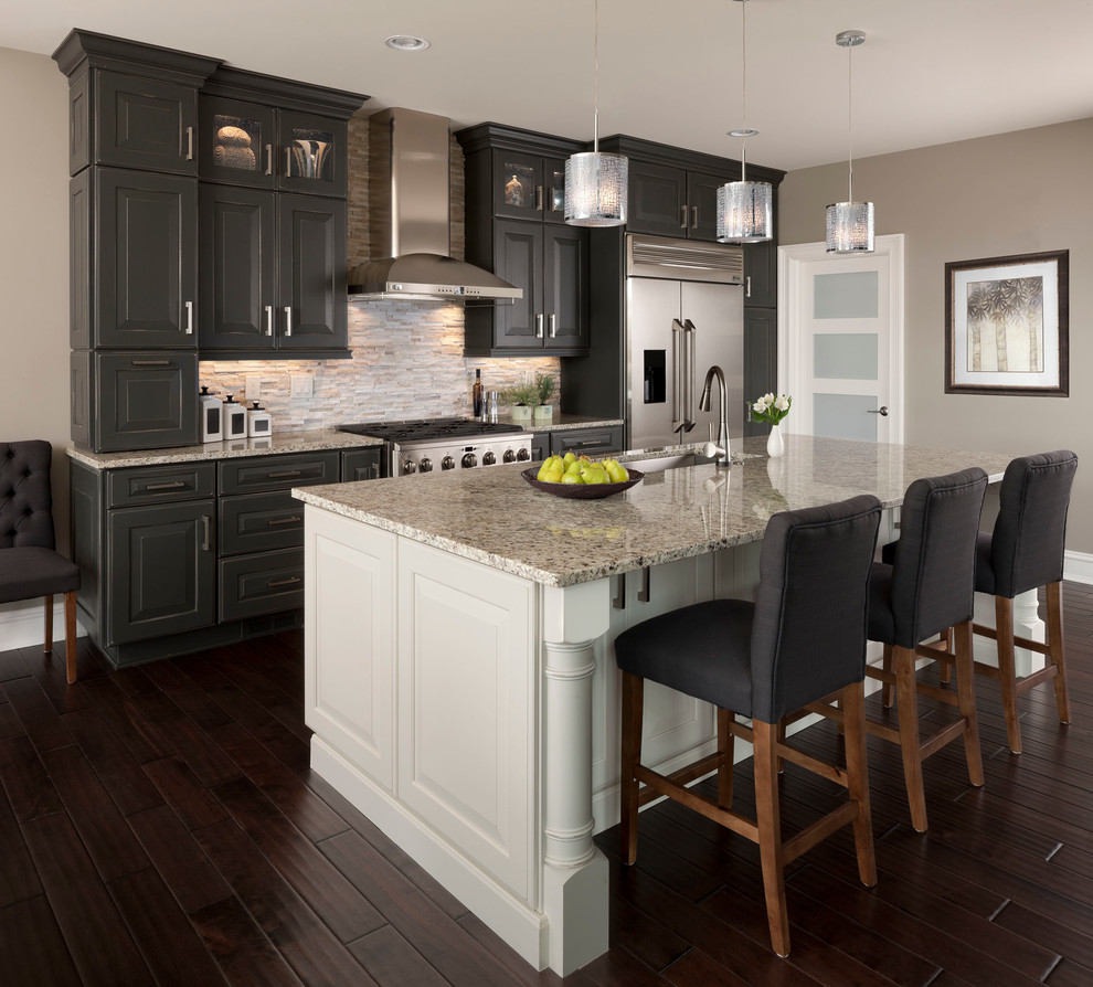 abbyson Kitchen Transitional with dark wood floors glass front cabinets gray and white gray walls island