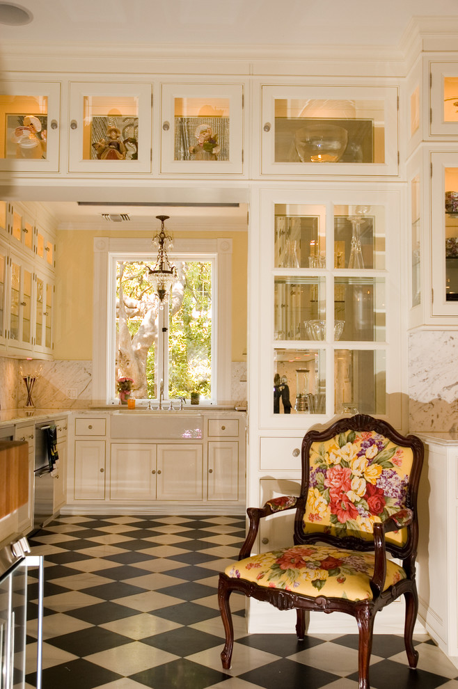 Accent Chairs with Arms Kitchen Traditional with Accent Chair Armed Chair Bright Chair Butlers Pantry Chandelier Checkered Floors Farm