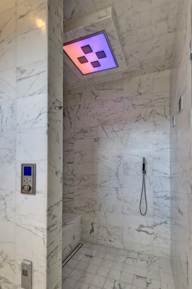aco drain Bathroom Contemporary with ACO drain linear marble tile mood lighting shower bench shower tile Vancouver