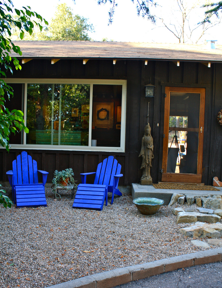 Adirondack Chair Exterior Eclectic with Adirondack Chairs Board and Batten Concrete Stoop Door Mat Gable Roof Gravel
