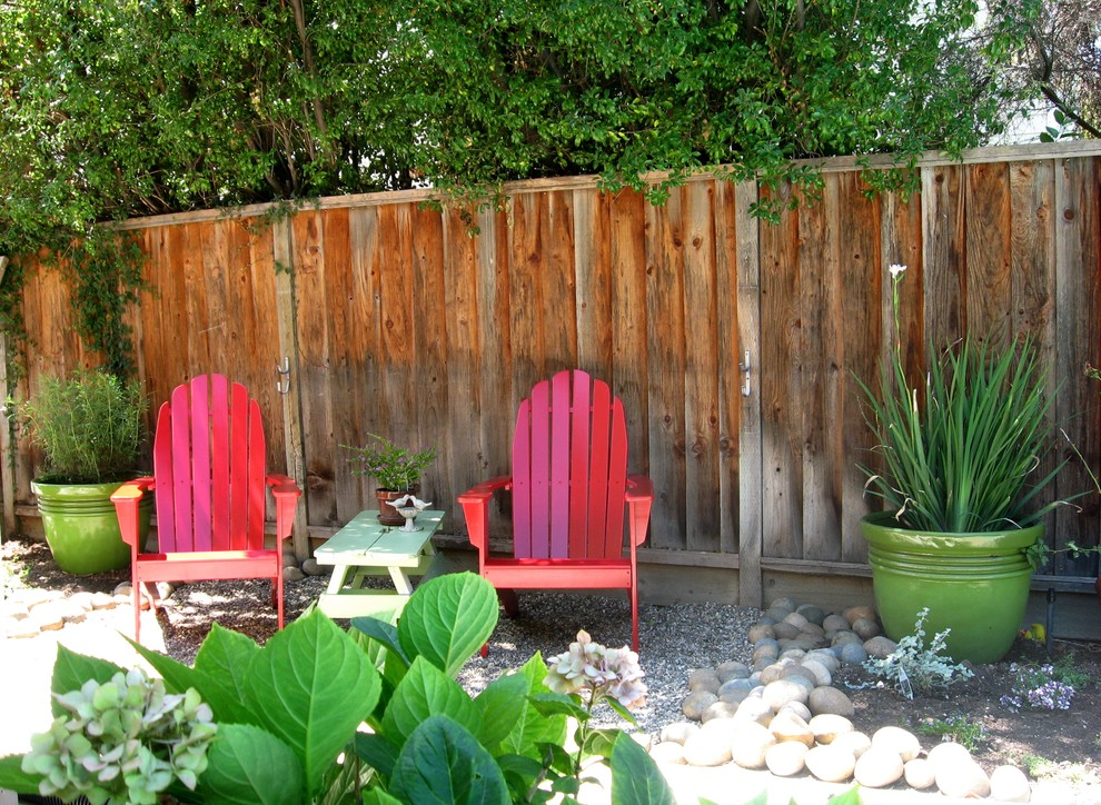 adirondack chair Landscape Eclectic with adirondack chair colorful container plants drought tolerant gravel hydrangeas low water potted