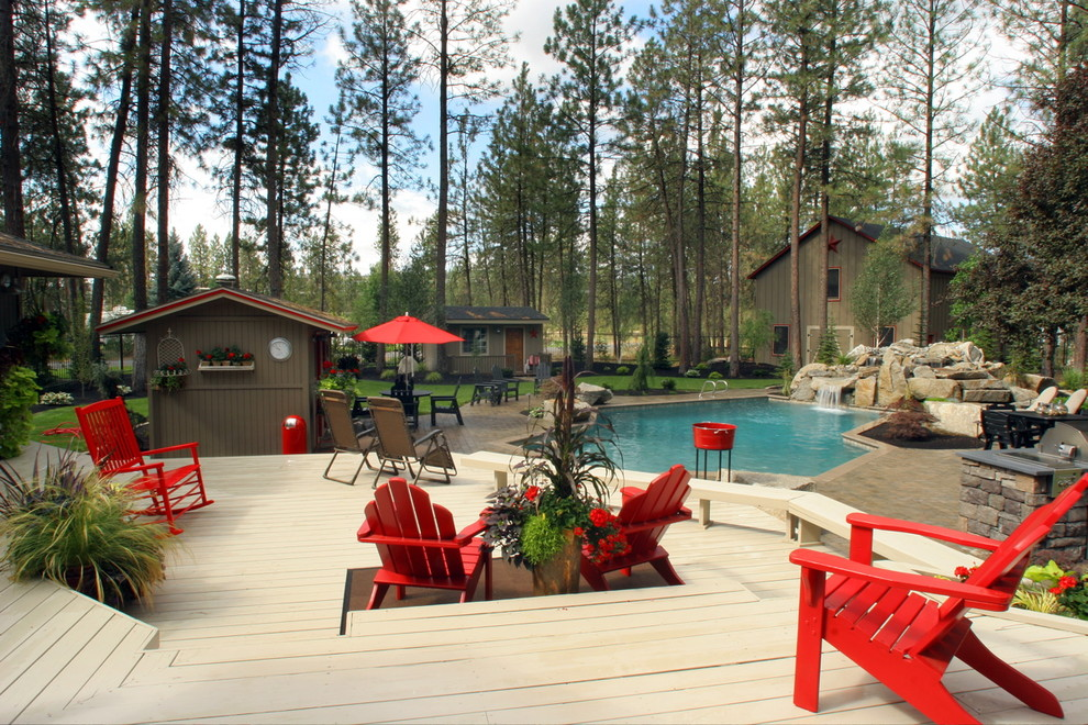 Adirondack Furniture Deck Traditional with Backyard Barn Bench Boulder Brown Composite Decking Lawn Patio Pavers Pool Red