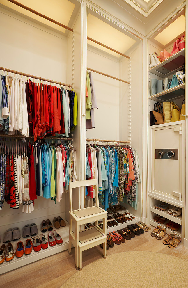 Adjustable Closet Rod Closet Transitional with Built Ins Purse Storage Safe Shoe Storage Step Stools Wood Floors