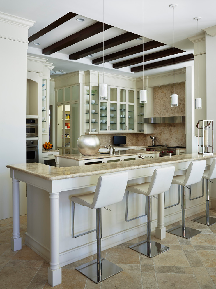 Adjustable Stool Kitchen Transitional with Annie Santulli Designs Beach House Beige Kitchen Backsplash Estate Exposed Beams Florida