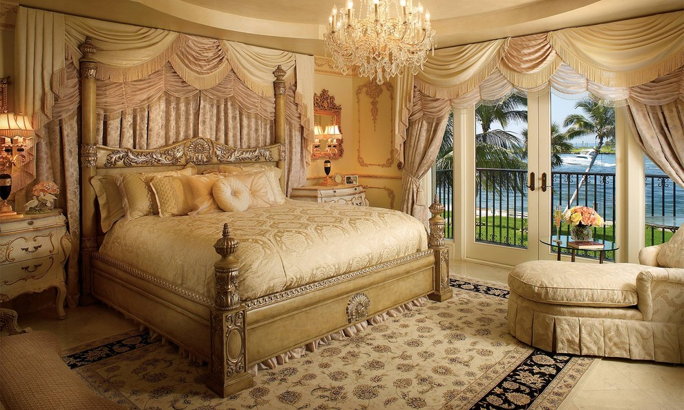 aico furniture Bedroom Traditional with area rug bed skirt carved wood chaise chandelier curtain panel pleats tile