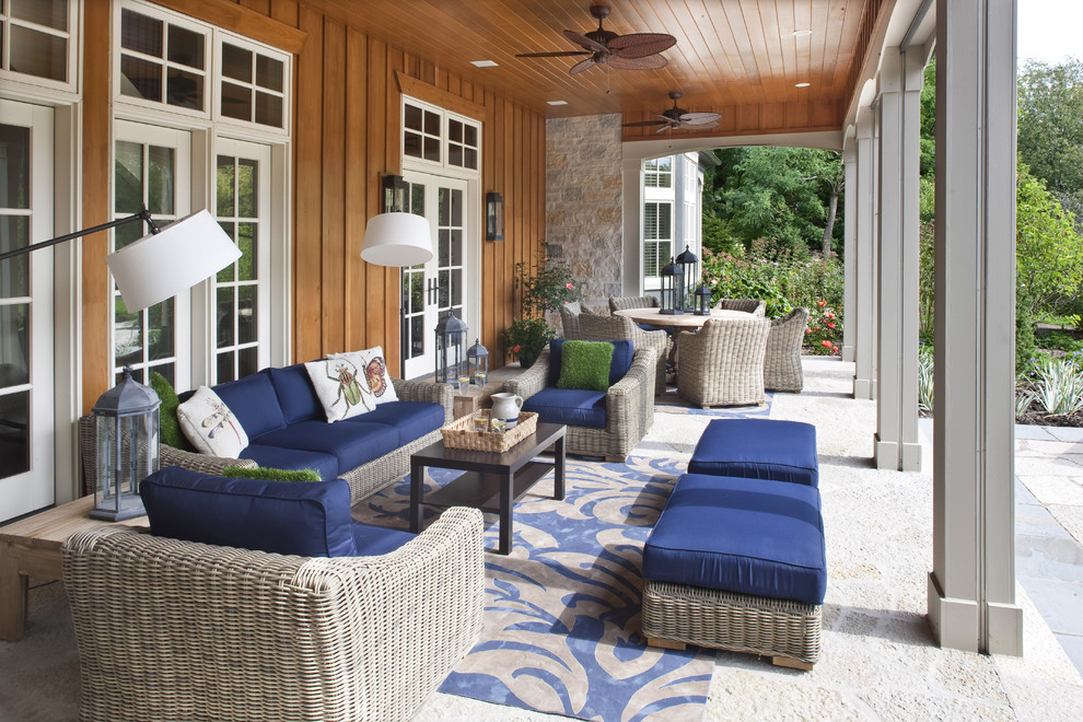 Aico Furniture Porch Traditional with Board and Batten Wood Siding Outdoor Cushions Outdoor Lighting Outdoor Room Outdoor