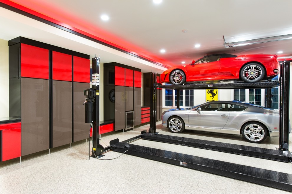 Aladdin Light Lift Garage And Shed Contemporary With Brown Cabinets Built In Car Custom Storage