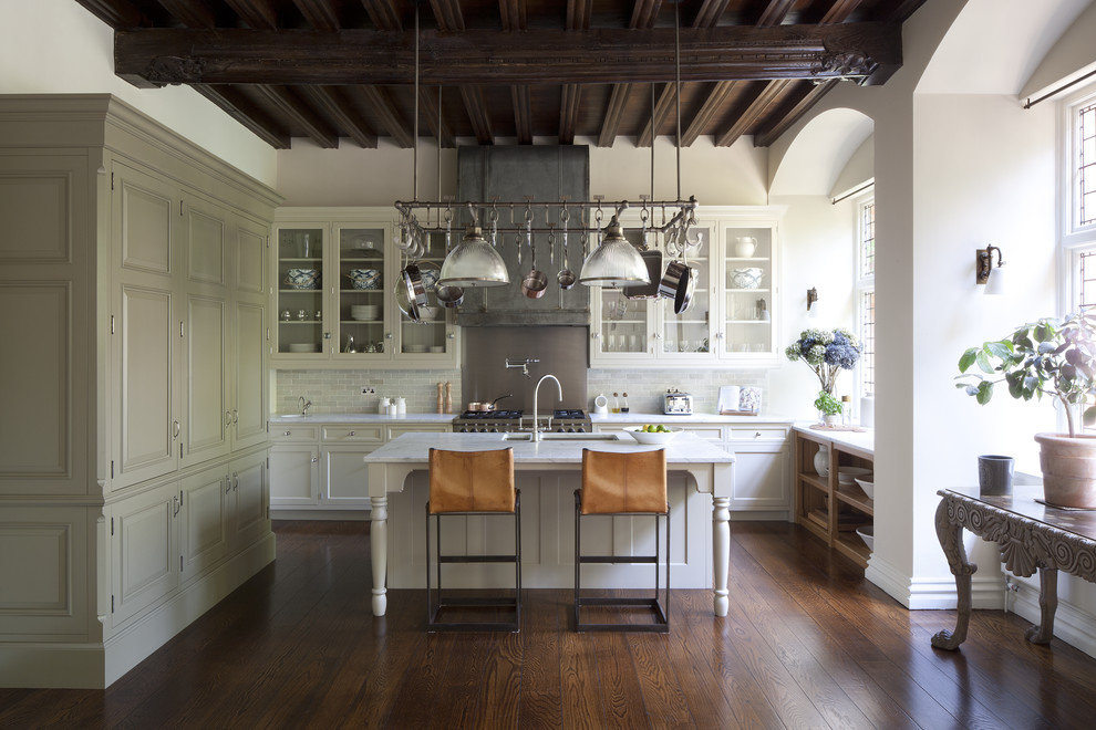 All Clad Non Stick Kitchen Traditional with American Kitchen Arched Windows Exposed Wooden Beams Hamptons Kitchen Hanging Pots And