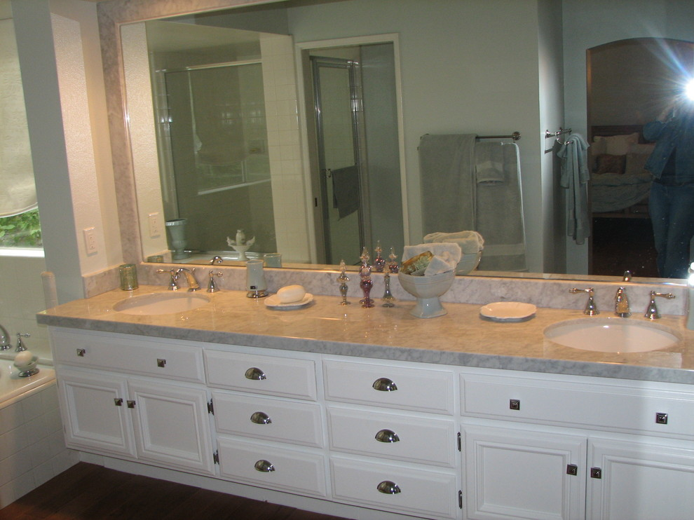 Alno Hardware Bathroom Traditional with Alno Hardware Carerra Marble Countertops Master Bath White Cabinets