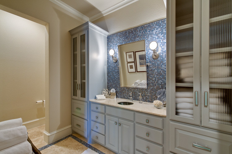 Alno Hardware Bathroom Transitional with Alno Hardware Blue and White Cool Penny Round Pivor Mirror Pool Bath