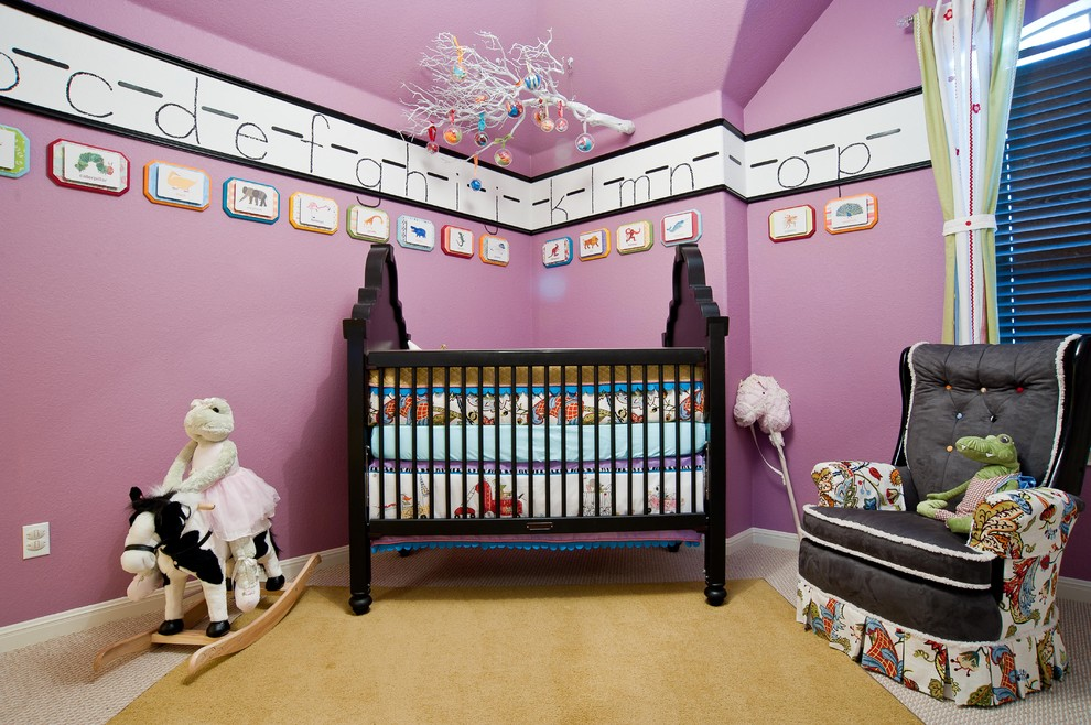 Alphabet Rug Nursery Eclectic with Area Rug Baseboards Bold Colors Crib Curtains Drapes Hanging Mobile Magenta Walls
