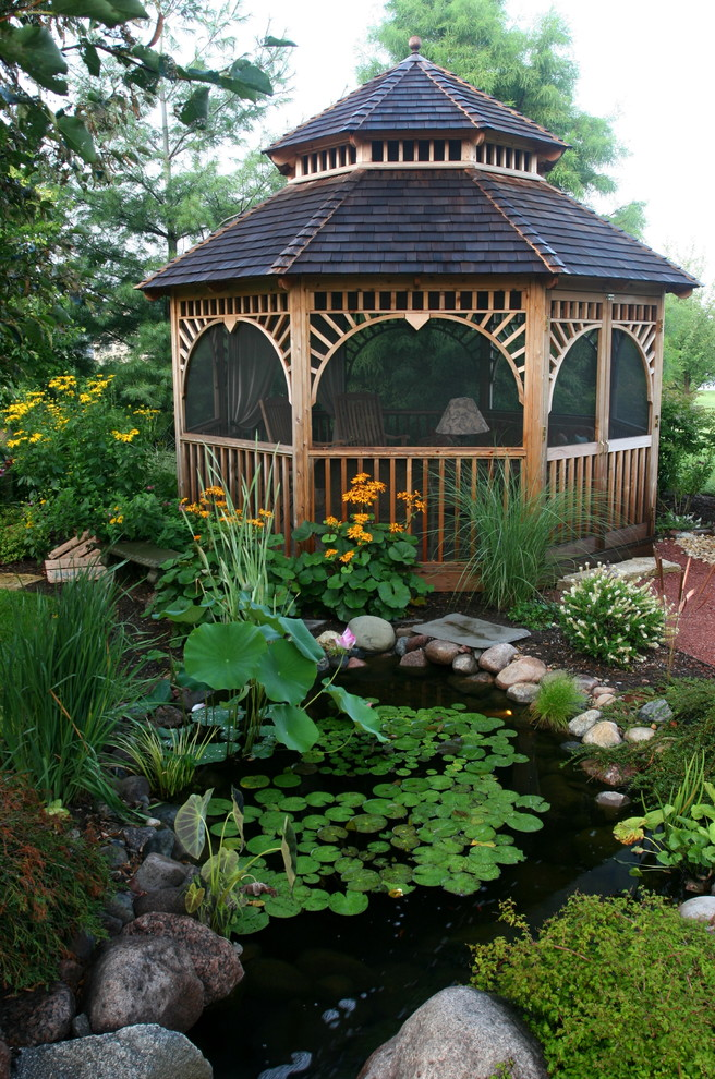 Aluminum Gazebo Landscape Tropical with Aquatic Garden Boulder Enclosed Gazebo Lilies Outdoor Seating Planter Pond Rock Water