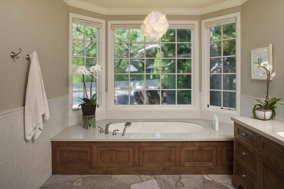 Amazon Area Rugs Bathroom Eclectic with Bay Window Built in Tub French Window Nook Tiled Wall Traditional Vanity Wood
