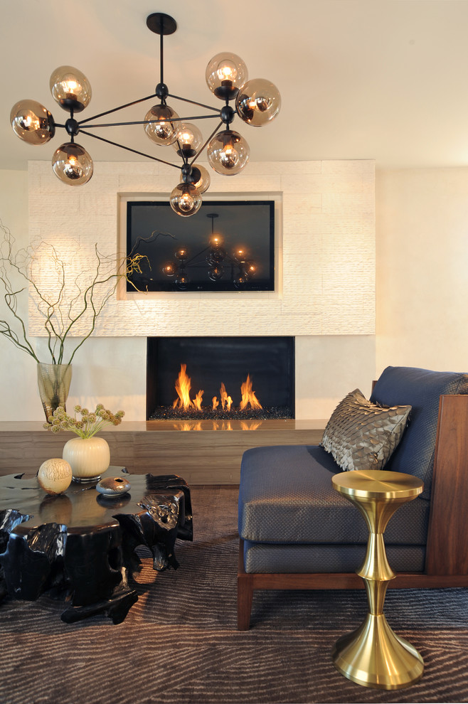 American Fireglass Bedroom Contemporary with Area Rug Decorative Pillows End Table Fireplace Hearth Fireplace Surround Floral Arrangement