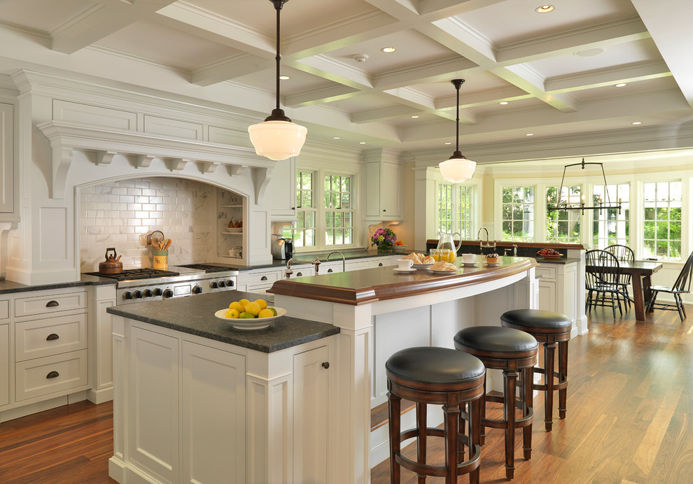 American Heritage Billiards Kitchen Traditional with Barstool Beam Bin Pulls Breakfast Bar Breakfast Room Ceiling Coffer Coffered Ceiling