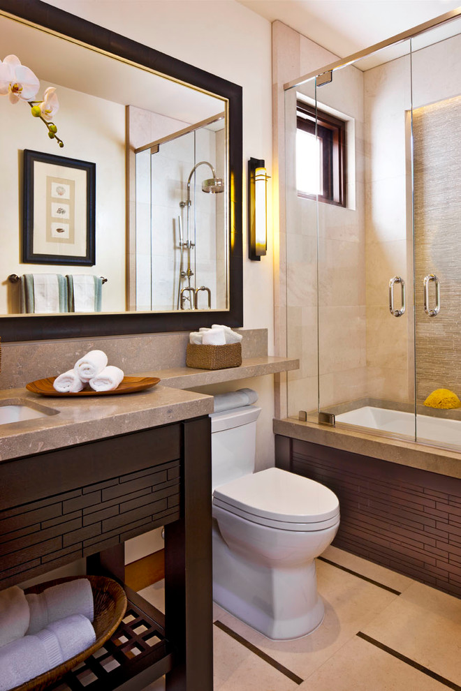 American Standard Toilet Seats Bathroom Contemporary with Cove Lighting Wall Sconce Dark Stained Wood Framed Mirror Glass Shower Door