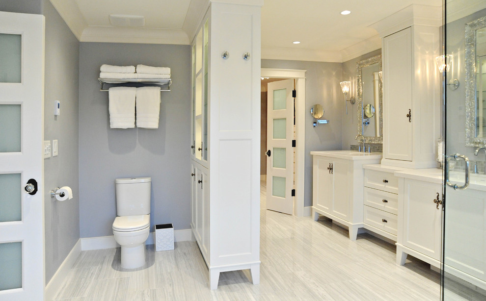 American Standard Toilet Seats Bathroom Traditional with 4 Panel Doors Cabinet Decorative Mirror Double Sinks Frosted Glass Glass Door
