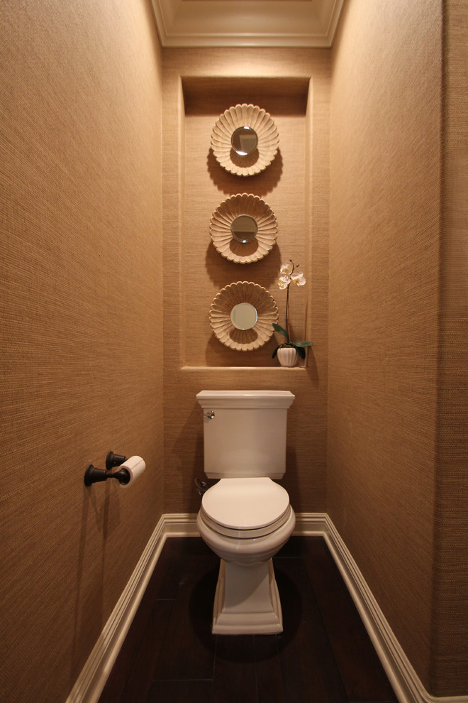 american standard toilet seats Powder Room Contemporary with baseboards crown molding dark floor grasscloth wallcoverings niche orchid toilet room wall