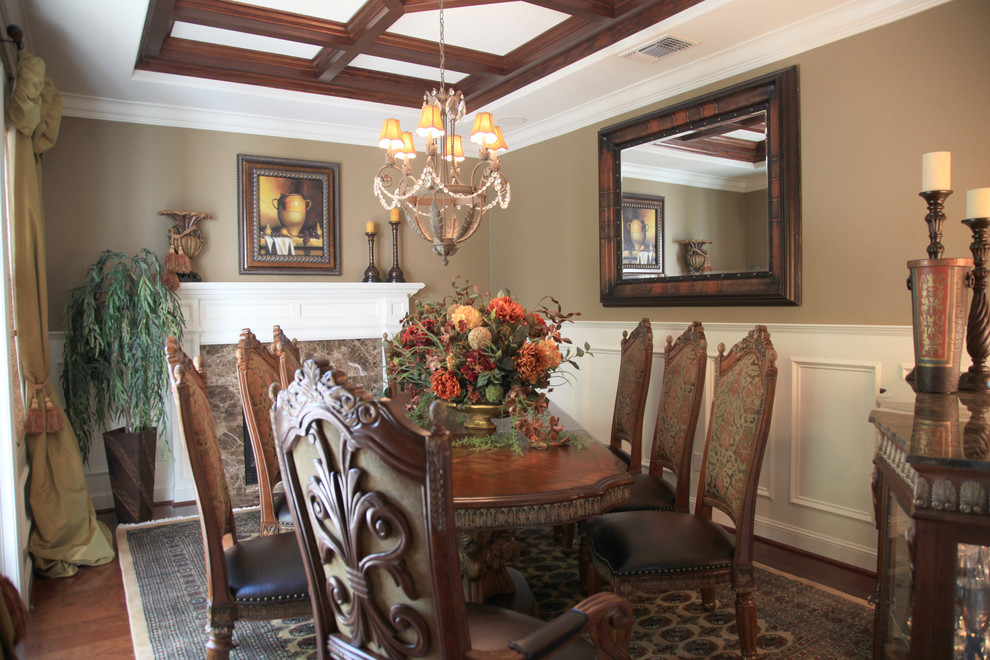 Amini Furniture Dining Room Mediterranean with Area Rug Carved Wood Dining Chairs Chandelier Coffered Ceiling Dark Stained Wood