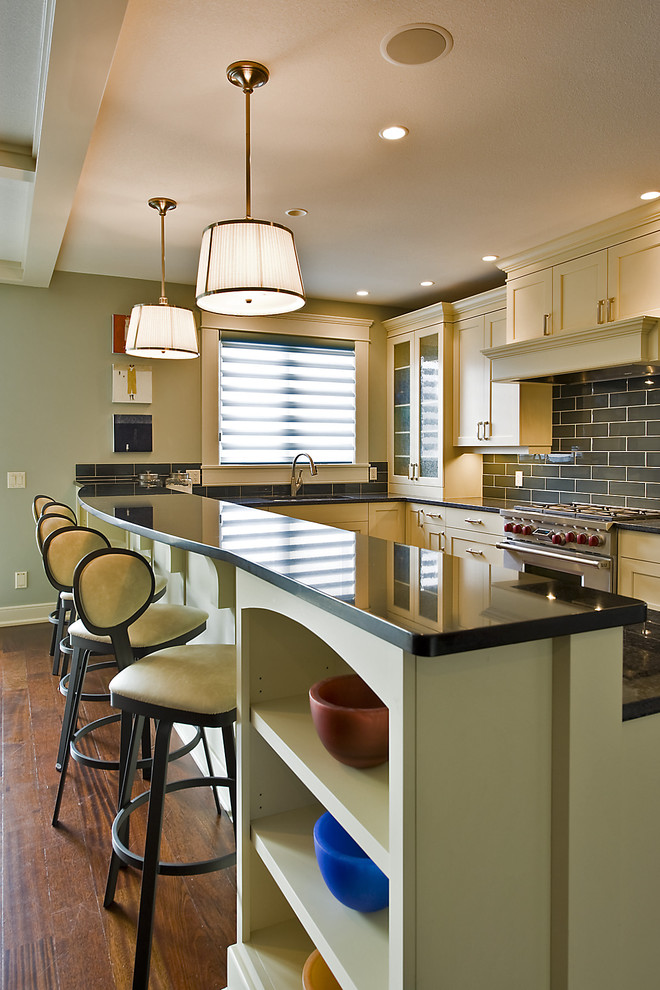 Amisco Kitchen Contemporary with Baseboards Breakfast Bar Ceiling Lighting Eat in Kitchen Glass Front Cabinets Kitchen