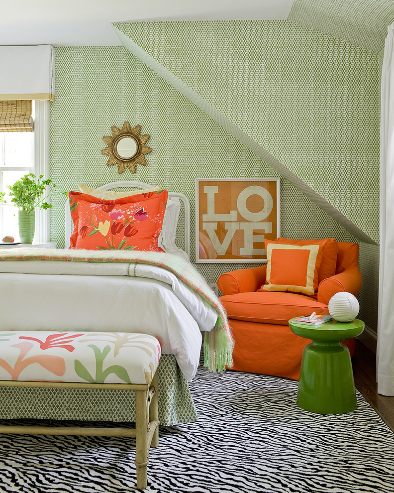 animal print rugs Bedroom Transitional with area rug foot of the bed green wallpaper orange accent orange armchair