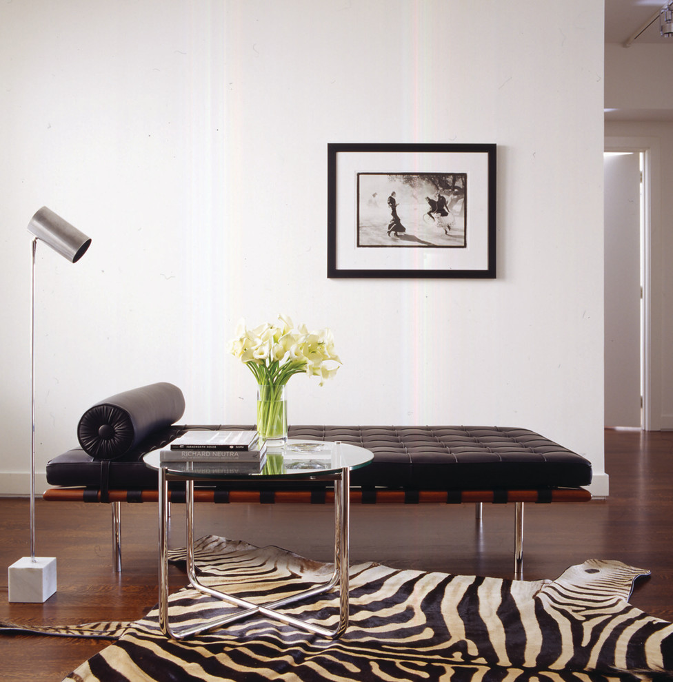 Animal Print Rugs Living Room Modern with Barcelona Daybed Chrome Floor Lamp Glass Side Table Modern Side Table Photograph