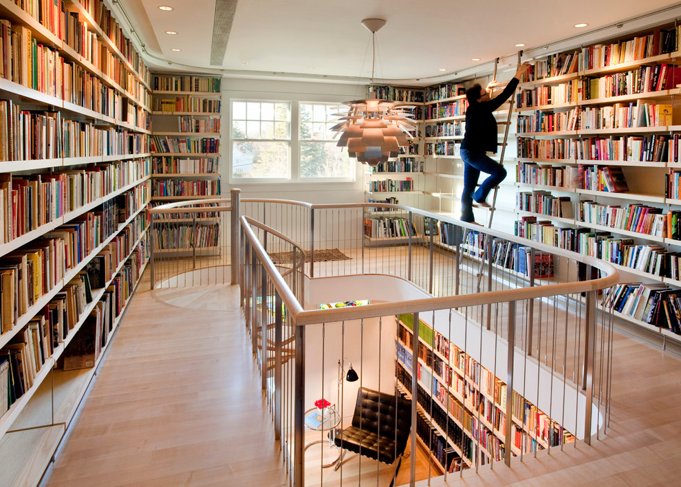 Anolon Nouvelle Copper Hall Contemporary with Amazing Room Attic Space Barcelona Chair Books Bookshelves Bookshelves with Ladder Built