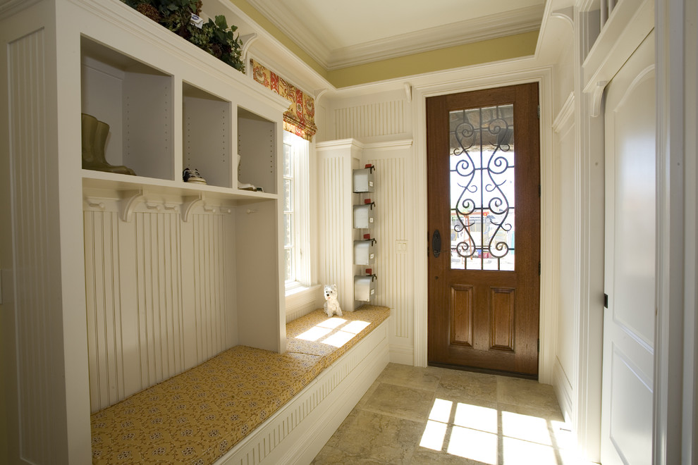 Apartment Mailboxes Entry Traditional with Beadboard Brackets Built in Bench Seat Crown Molding Cubbies Dark Stained Entry Door