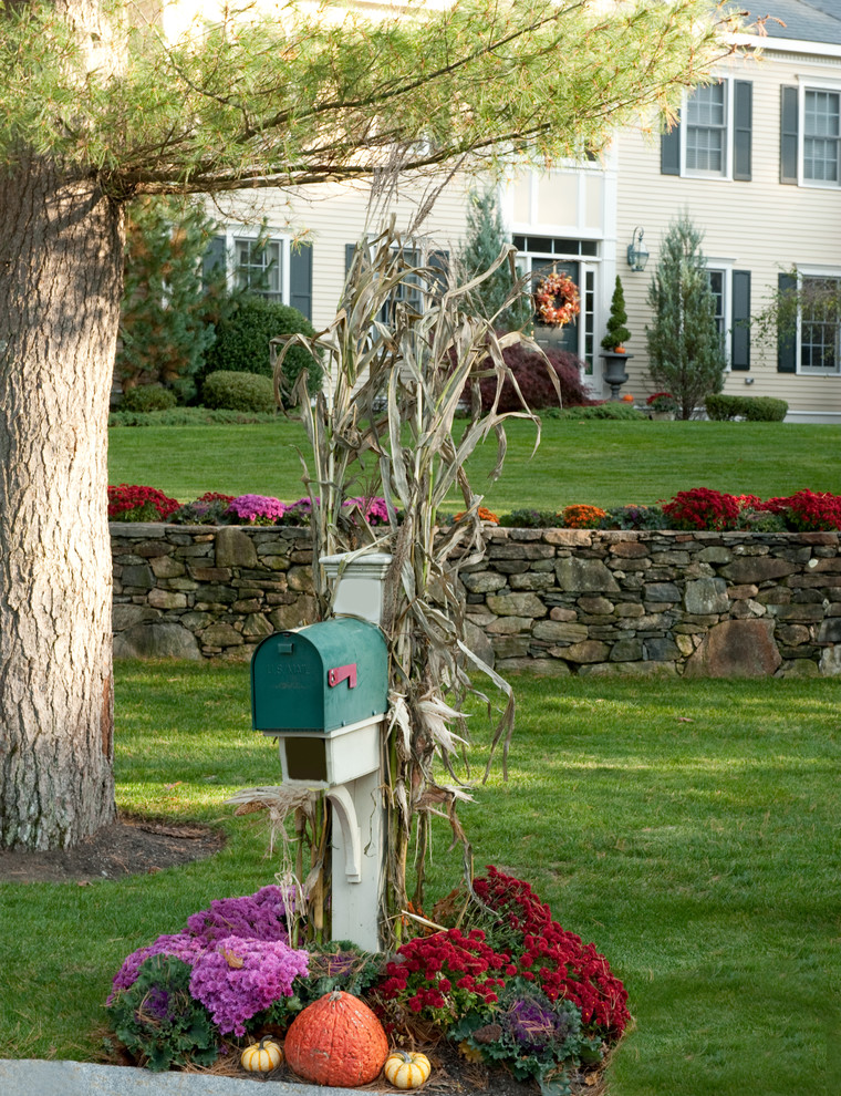 Apartment Mailboxes Landscape Traditional with Boston Fall Decor Halloween Mailbox Mums Pumpkin Pumpkins Shutters