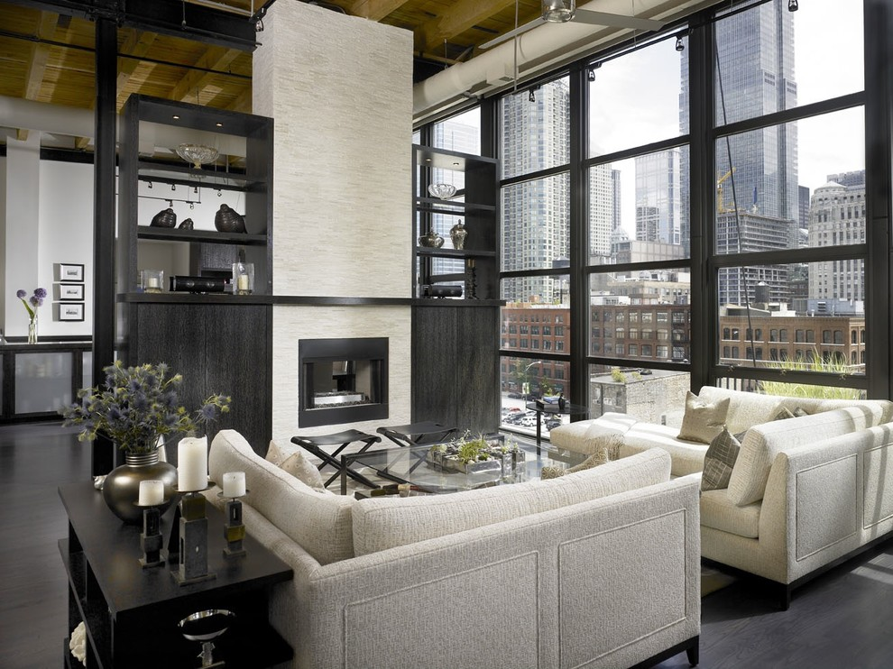 Apartment Size Sectional Living Room Industrial with Built in Shelves Ceiling Lighting Corner Sofa Dark Floor Glass Wall High