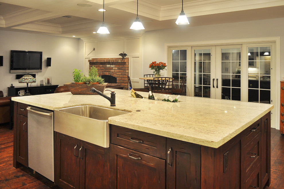 Apron Front Sink Kitchen Traditional with Apron Sink Brick Fireplace Surround Ceiling Lighting Coffered Ceiling Cooler Dark Floor